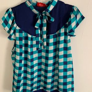 Checked, pussy-bow, blouse